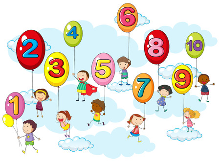 skies: Counting numbers with kids on balloons illustration