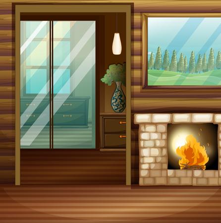 Room design with firework illustration