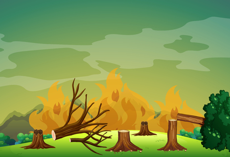 wildfire: Wildfire in the forest illustration