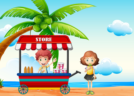 Beach scene with boy and girl at food vendor illustration