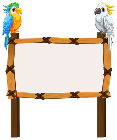 Border template with two macaws illustration  イラスト・ベクター素材