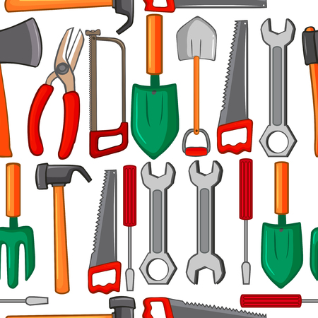 Seamless background with handtools illustration