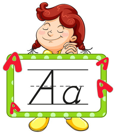 Happy girl and alphabet flashcard for letter A illustration