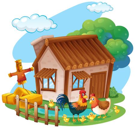 Chickens on the farm illustration