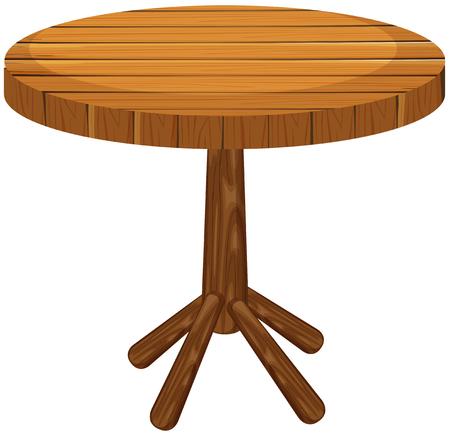 table decor: Wooden round table on white background illustration Illustration