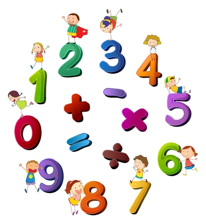 Numbers and happy kids  illustration