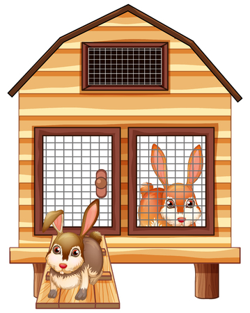 Rabbits in the wooden coop illustration Illustration