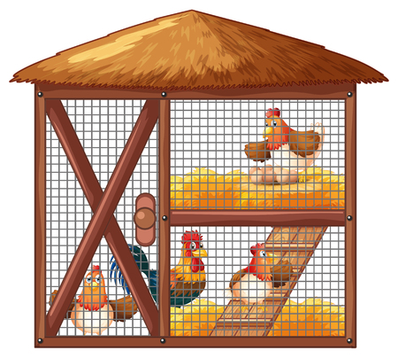Chickens in chicken coop illustration