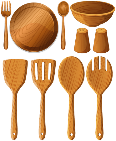 Different types of utensils made of wood illustration