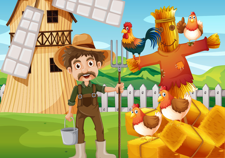 Farmer and chickens in the field illustration