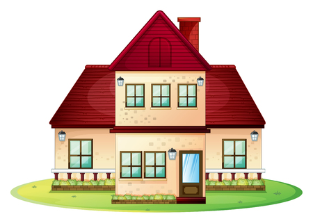 Two storey house with red roof illustration