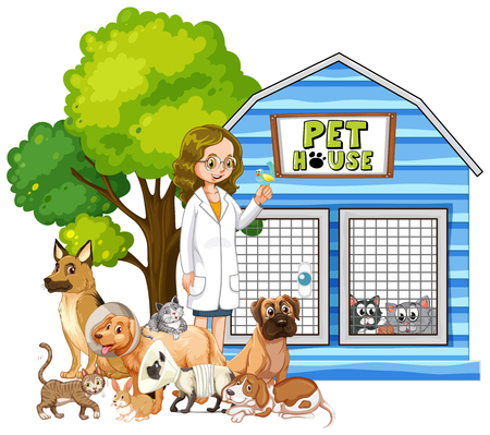 Vet and sick animals at pet house illustration
