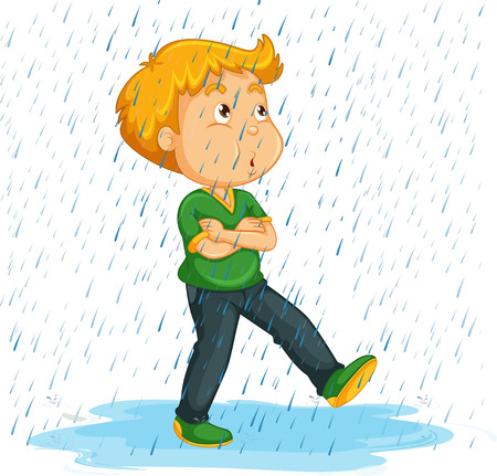 adolescent boy: Boy whistlering in the rain illustration