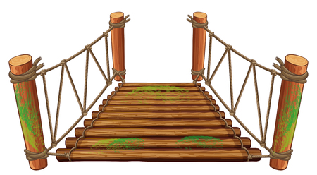 plywood: Wooden bridge on white background illustration