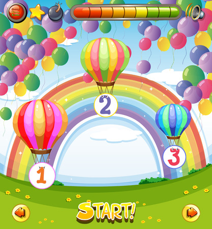 Game template with balloons in the sky background illustration