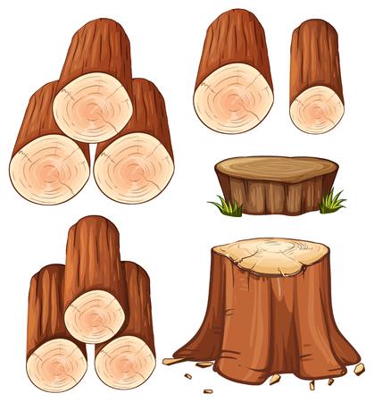 Woods and stump trees illustration
