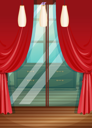 windows home: Red curtain in wooden room illustration