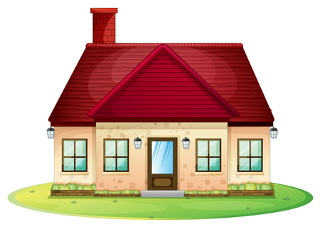 Single house with red chimney on roof illustration Фото со стока - 74386818