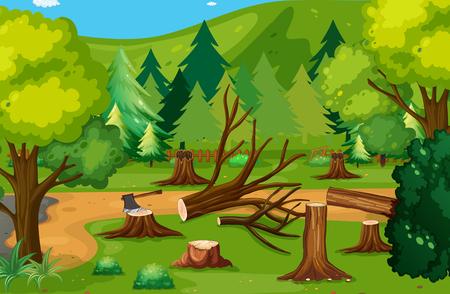 Deforestación escena con madera picada ilustración