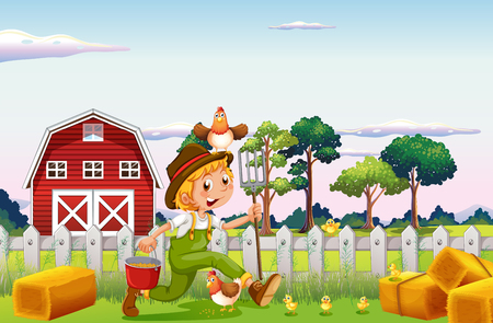 Farmer and chickens on farmyard illustration