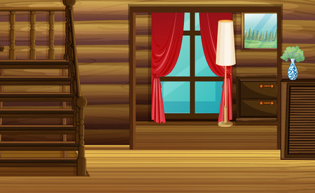 wood room: Room with wood furniture and stairs illustration