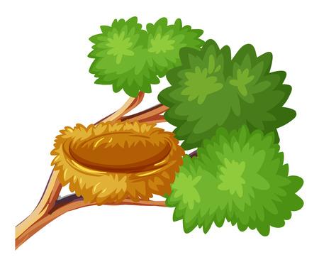 나뭇 가지에 새 둥지 일러스트 레이션