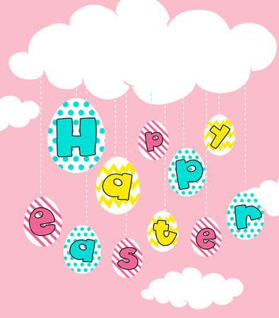 happy: Happy Easter poster with pink background illustration