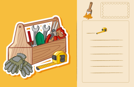 picture card: Postcard template with toolbox and tools illustration