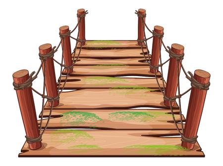 Wooden bridge on white background illustration