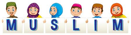 adolescent girl: Muslim people holding sign illustration Illustration