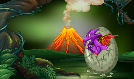 Purple dragon hatching egg in deep forest illustration