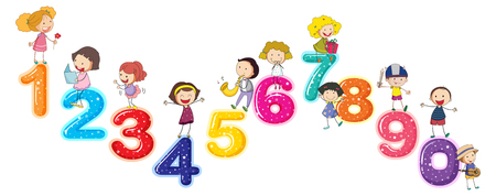 Counting numbers with little kids illustration