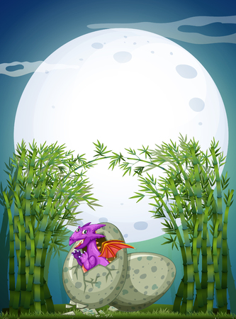 Dragon hatching egg on fullmoon night illustration Illustration