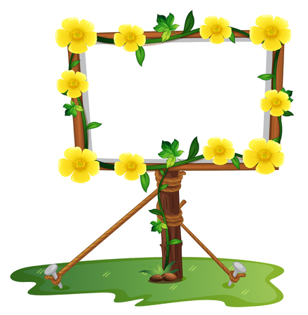 Frame template with yellow buttercup flowers illustration Illustration