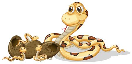 Rattle snake and its offsprings illustration Illustration