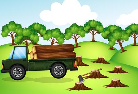 Ontbossingsscène met vrachtwagen die met logboekenillustratie wordt geladen
