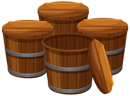 pail tank: Four wooden buckets with lids illustration