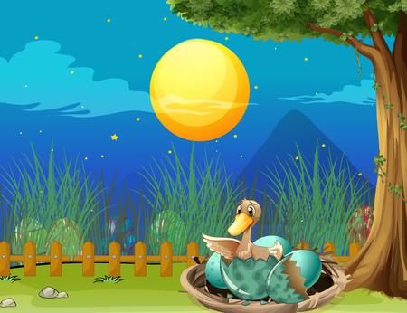 Duck hatching egg at night illustration