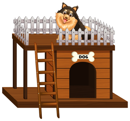 doghouse: Dog standing on wooden hut illustration
