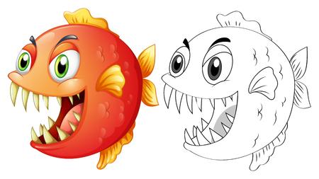 Doodle animal for fish illustration Illustration