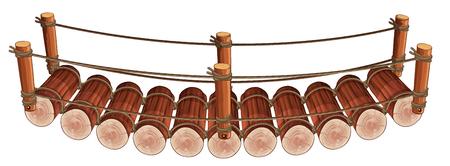 rope bridge: Wooden bridge design on white background illustration