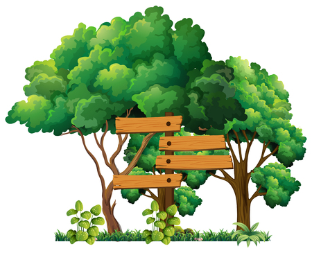 plywood: Wooden sign in the garden illustration