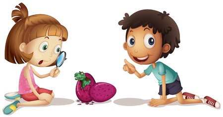 adolescent boy: Two kids looking at baby dinosaur hatching egg illustration Illustration