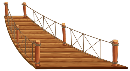 Wooden bridge with rope attached illustration Illustration