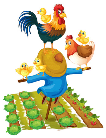 Scarecrow and chickens in vegetable garden illustration