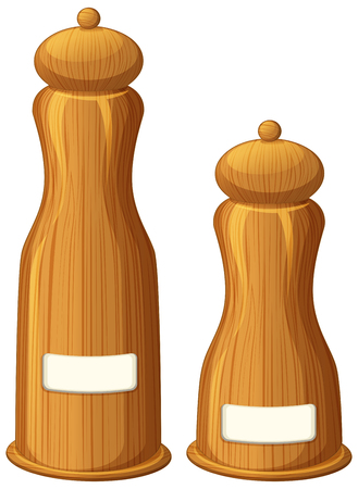 Pepper and salt shakers made of wood illustration