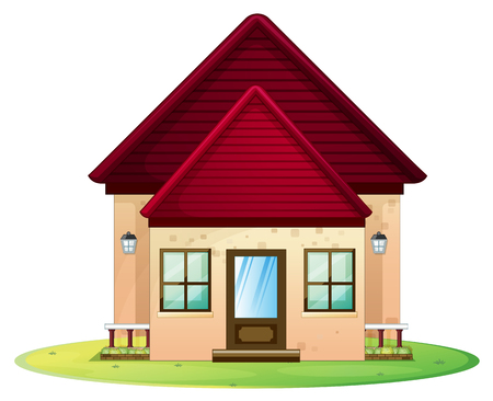 windows home: Little house with red roof illustration Illustration