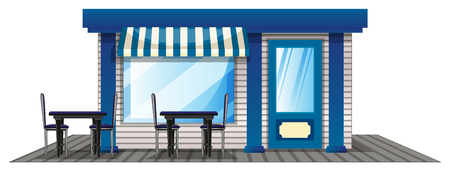 outdoor dining: Cafe with outdoor dining tables illustration