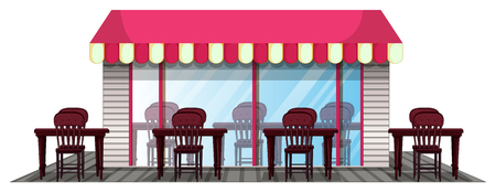 outdoor dining: Restaurant design with outdoor dining area illustration