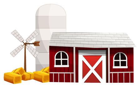 Farm scene with silo and barn illustration